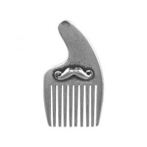 miniature pewter moustache beard comb