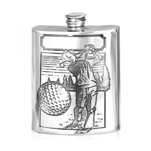 sports golf hipflask gift engraved